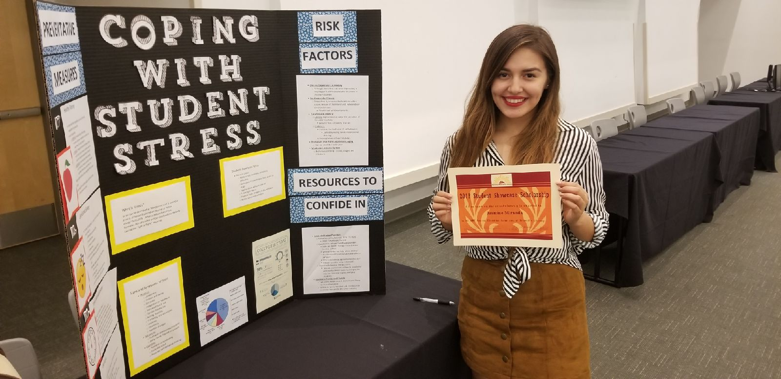 """Jasmine Miranda won $1,000 for her project, """"Prevention of Stress for Students."""""""