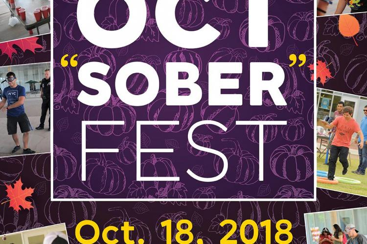 Graphic advertisement for the event with images of students participating in games and activities from previous OctSober tests.